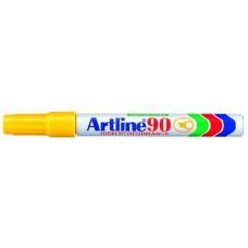 Alkoholos filc toll 2 - 5 mm vágott végű  - Sárga - Újratölthető és vízálló - Artline EK-90 - Permanent Marker