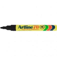 Vízálló, újratölthető, 1 - 2 mm csúcsos alkoholos filc toll - Fekete - Artline EK-70 - Permanent Marker