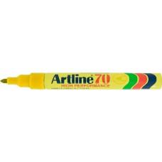 Újratölthető, vízálló, 1 - 2 mm csúcsos alkoholos filc toll - Sárga - Artline EK-70 - Permanent Marker