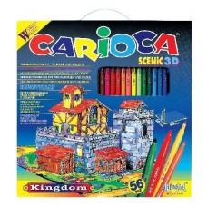 Kifestő színező 56 darabos filctoll készlet Carioca Scenic 3D Kingdom