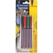 Tetováló filc Centropen Tattoo 2880 4 db-os készlet 16 sablonnal