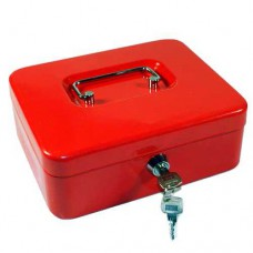Pénzkazetta 25 cm és érmetartó tálca - Piros - Közepes méret - Zárható fémkazetta lemez pénz kazetta
