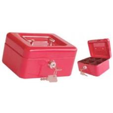 Pénzkazetta és aprópénztartó - Piros - Legkisebb méretű - Zárható fémkazetta pénz kazetta - Pénzkazetták