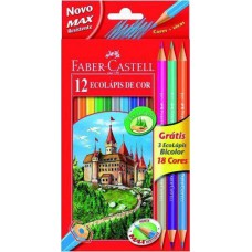12+3 db-os Faber Castell EcoPencil színesceruza ajándék hegyezővel és 3 db kétvégű színesceruzával