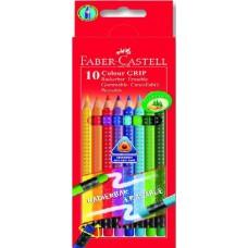 Faber Castell Colour Grip 10 db-os háromszög alakú színes ceruza radír véggel
