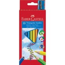 10 darabos Faber Castell Jumbo vastag háromszög alakú színes ceruza ajándék hegyezővel