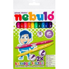 Kétvégű filctoll készlet 12 színes lemosható filctoll - Nebuló