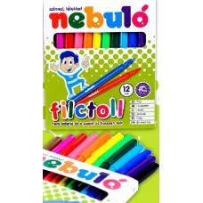 Nebuló filctoll készlet 12 színű 12 darabos lemosható filctoll