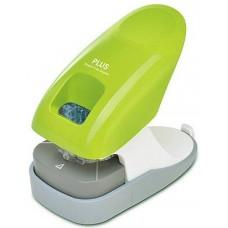 Asztali kapocs nélküli tűzőgép  - Zöld - 10 lap - Plus Japan