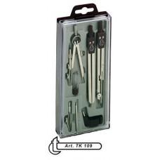Körző készlet csuklós szárú 7 darabos ( 3 körzővel ) TK109