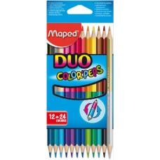 Maped Duo 12 darabos, 24 színű háromszög alakú színes ceruza készlet