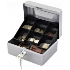 Pénzeskazetta hordozható - Ezüst szürke - 15 cm - Zárható fémkazetta pénzkazetta - Pénzkazetták