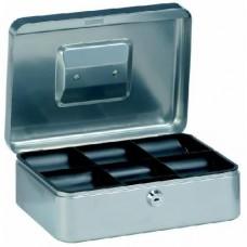 Pénzkazetta 25 cm műanyag betéttel - Ezüst szürke M méret - Zárható pénzes kazetta hordozható