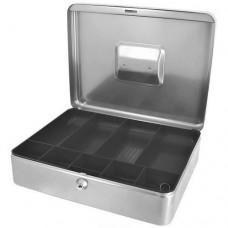 Pénztartó kassza 30 cm aprótartóval - Ezüst szürke L méret - Kulccsal zárható doboz