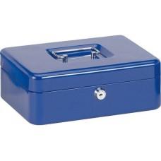 Pénzkazetta, aprópénztartóval - Kék - Közepes méretű - Zárható lemez fémkazetta pénz kazetta