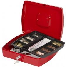 Pénzkazetta és aprópénztartó - Piros - Nagyméret - Zárható fémkazetta pénztartó doboz - Pénztárolók