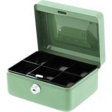 Pénzkazetta 15 cm kicsi aprópénztartó kassza - Zöld - Zárható fém pénztartó doboz