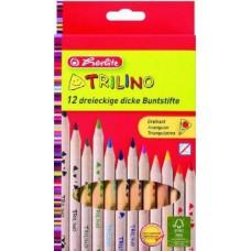 Herlitz Trilino 12 darabos, natúr, vastag háromszög alakú színes ceruza készlet