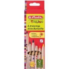 Herlitz Trilino színes ceruza 6 db-os készlet, natúr, vastag háromszög alakú