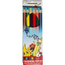 6 darabos, vastag, háromszögletű színes ceruza készlet Triangulo