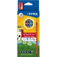 Lyra Groove Slim 12 darabos háromszög alakú színes ceruza készlet ajándék hegyezővel