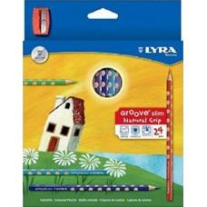Lyra Groove Slim 24 darabos háromszög alakú színes ceruza készlet ajándék hegyezővel