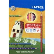 Lyra Groove Slim 36 darabos háromszög alakú színes ceruza készlet ajándék hegyezővel