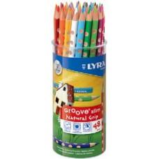 Lyra Groove Slim 48 db-os 24 színű háromszög alakú színes ceruza készlet pohárban
