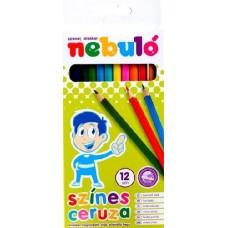 Nebuló színes ceruza készlet hatszögletű, hegyezett 12 színű