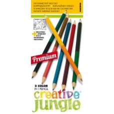 12 darabos, mindkét végén hegyezett, 24 színű színesceruzák Creative Jungle