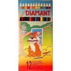 Hegyezett, hatszögletű, 12 darabos színes ceruza készlet Diamant