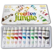 12 színű tempera festék 12 ml alumínium tubusban - Creative Jungle - Tempera készlet