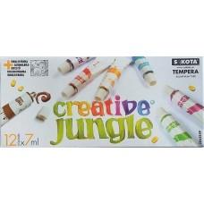 12 színű tempera festék 7 ml alu tubusban - Creative Jungle - Tempera készlet