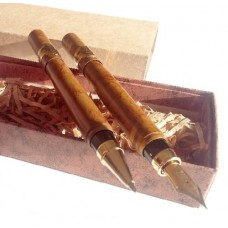 Gravírozható két darabos kubai szivar alakú tollkészlet díszdobozban - Golyóstoll és töltőtoll - Smoke