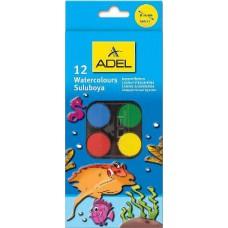 Kisgombos vízfesték készlet 12 darabos, ecsettel - Adel 933 - Akvarell festék