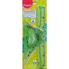 Maped 4 darabos törhetetlen vonalzó készlet - Világos zöld