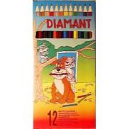12 darabos hatszögletű színes ceruza készlet Diamant